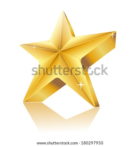 3d star made of gold with reflection - stock vector