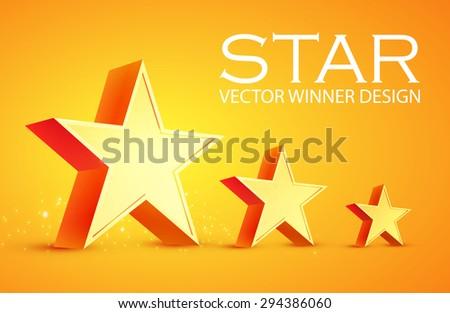 3D stars. Win design. Vector illustration. - stock vector