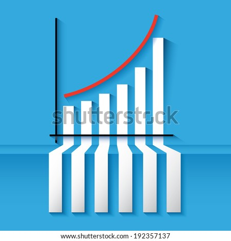 3D statistics red growing up success arrow and upstairs steps ladder