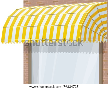 3d Storefront. Exterior windows with yellow awning.  EPS10. - stock vector