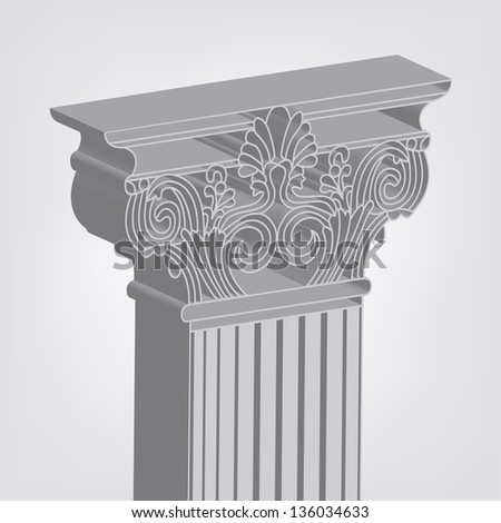 3d-style greece column. eps10 vector illustration