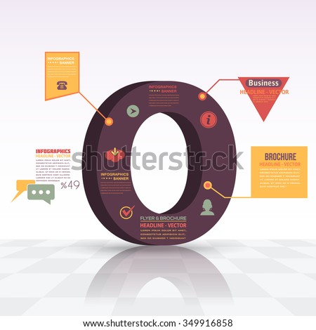 3d Style Letter O Flat Infographics Design and Web Elements. Business, Marketing Concept Vector Template - stock vector