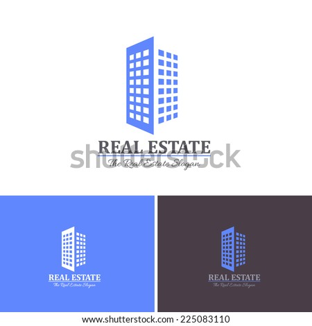 3d Style Real Estate Vector Icons, Logos, Sign, Symbol Template  - stock vector