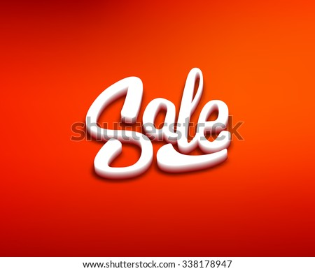 3D styled Sale text on red blurred background. Retail promotion banner design vector template for discount offer or clearance