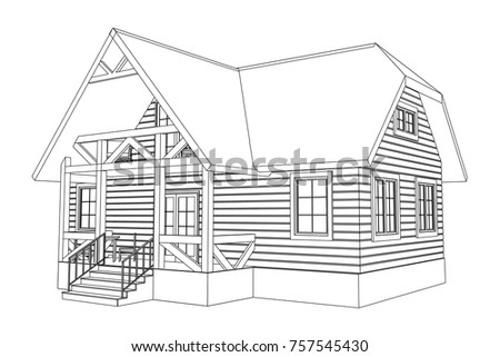 3d suburban wood house model drawing stock vector 757545430 3d suburban wood house model drawing of the modern building cottage project on white malvernweather