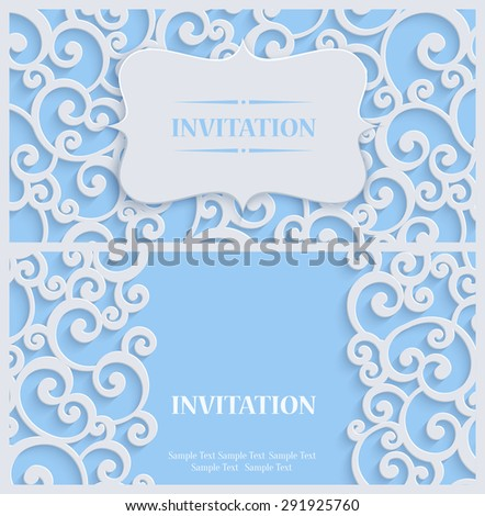 3d Swirl Background with Floral Damask Curl Pattern for Greeting or Invitation Card Design in Paper Cut Style. Vector Blue Vintage Template - stock vector