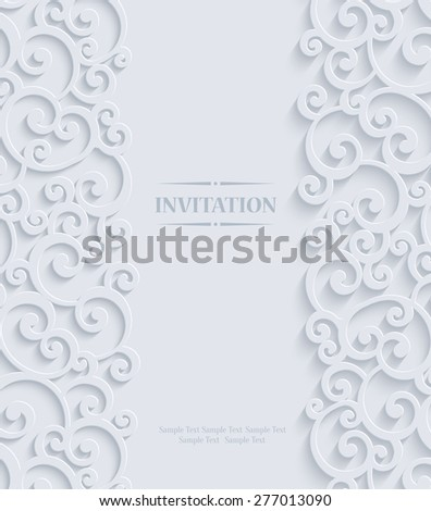 3d Swirl Wedding or Invitation Card with Floral Curl Pattern, Vector - stock vector