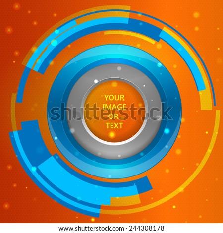 3D tech circle frame on a orange background. Vector illustration - stock vector