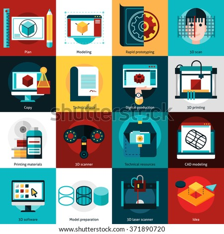 3D technology flat icons set for   prototyping with laser scanner 3d printer and cad modeling isolated vector illustration   - stock vector