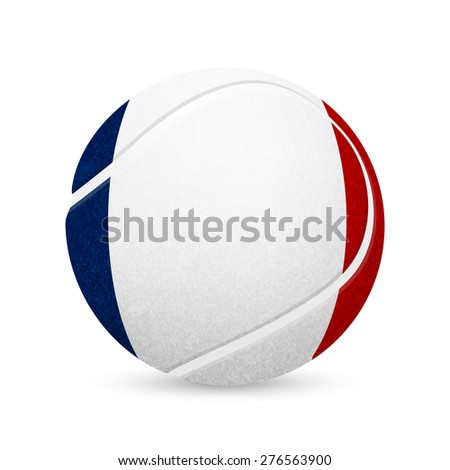 3D tennis balls with French flag isolated on white. Vector EPS10 illustration.  - stock vector