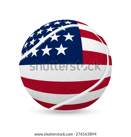 3D tennis balls with US flag isolated on white. Vector EPS10 illustration.  - stock vector