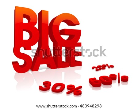 3D Text Big Sale with different discount percentages, Creative Poster, Banner or Flyer design.