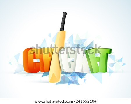 3D text Cricket in Indian national flag colors with bat on stylish sky blue background. - stock vector