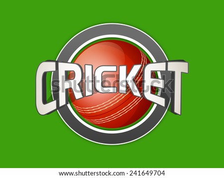 3D text Cricket with glossy red ball on green background. - stock vector