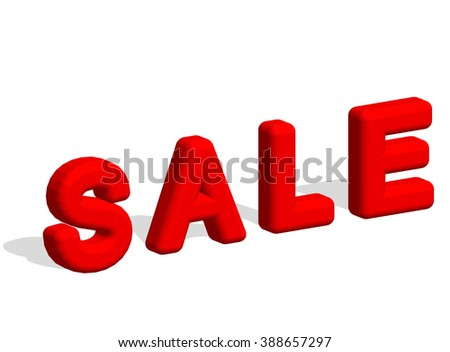 3d text SALE. Sale poster isolated white background. EPS 10 vector illustration