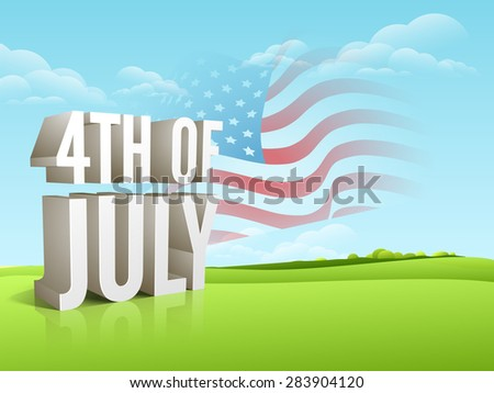 3D text 4th of July with national flag waving on cloudy nature background for American Independence Day celebration. - stock vector