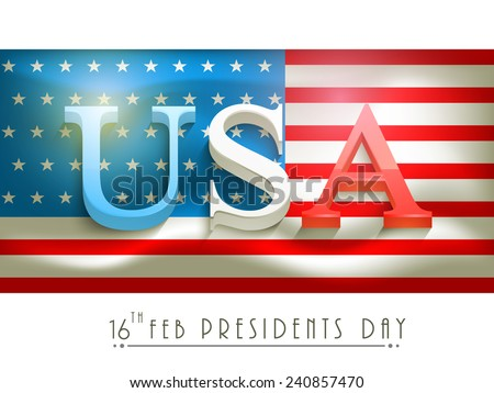 3D text United State American on national flag for Presidents Day celebration on white background. - stock vector