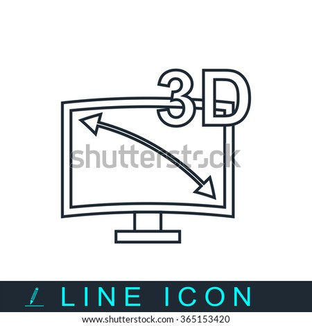 3d tv icon - stock vector