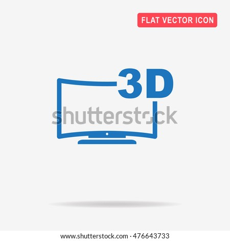 3d tv icon. Vector concept illustration for design.