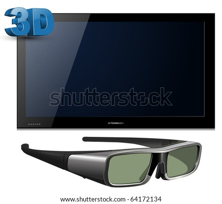 3D TV led with glasses - detailed vector illustration. - stock vector
