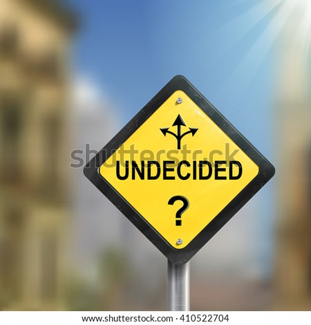 3d undecided road sign with three different ways isolated on blurred street scene - stock vector
