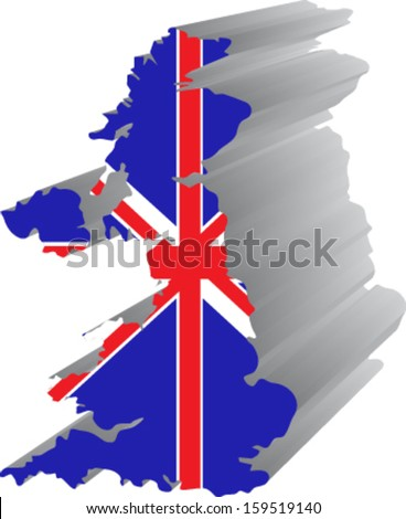3d united kingdom map with flag - stock vector