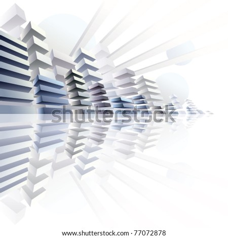 3d urban abstract background, vector city panorama illustration. - stock vector