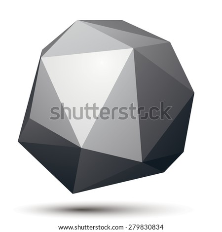 3D vector abstract design object, polygonal complicated figure. Grayscale three-dimensional deformed shape, render. - stock vector