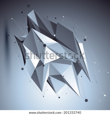 3D vector abstract tech cybernetic illustration, perspective geometric unusual background with wireframe. Asymmetric sharp object placed over dark backdrop. - stock vector