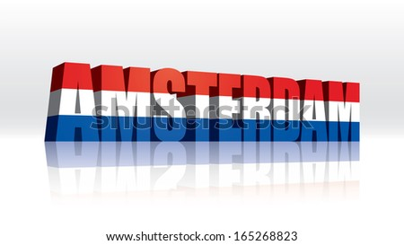 3D Vector Amsterdam (Holland-Netherlands) Word Text Flag