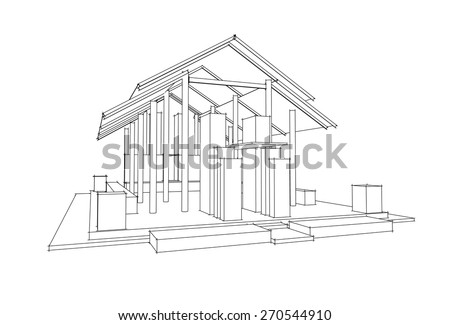 3d vector architecture,Thai Style - stock vector