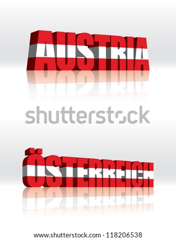 3D Vector Austria (Osterreich) Word Text Flag