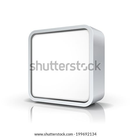 3d vector blank chrome metal square frame or button - stock vector