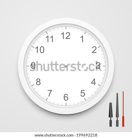 3d vector blank clock face with hour, minute and second hands isolated on white background - stock vector