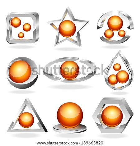 3d vector business abstract icons set. Chrome and orange. - stock vector