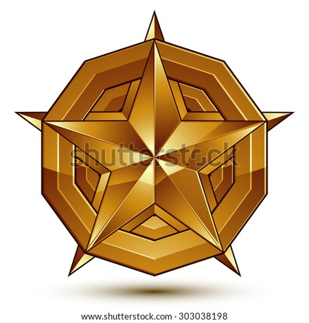 3d vector classic royal symbol, sophisticated golden star emblem isolated on white background, glossy aurum element. - stock vector