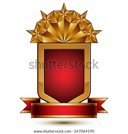 3d vector classic royal symbol, sophisticated protection shield with golden star and red wavy stripe, decorative emblem isolated on white background, dimensional glossy element. - stock vector