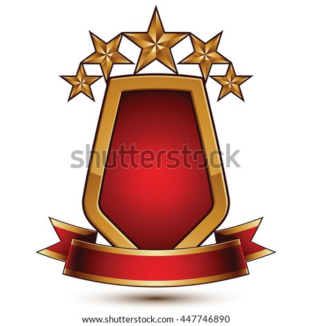3d vector classic royal symbol, sophisticated protection shield with golden star and red wavy stripe, decorative emblem isolated on white background, dimensional glossy element.
