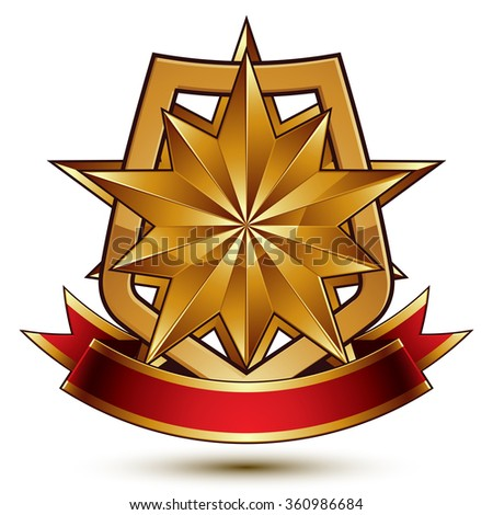 3d vector classic royal symbol, sophisticated protection shield with polygonal golden star and red wavy stripe, decorative emblem isolated on white background, dimensional glossy element. - stock vector
