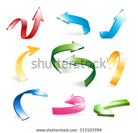 3d vector colorful arrows set isolated on white background - stock vector