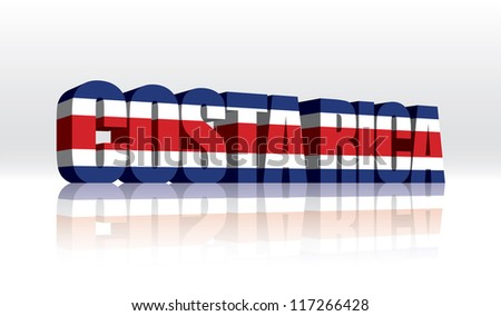 3D Vector Costa Rica Word Text Flag