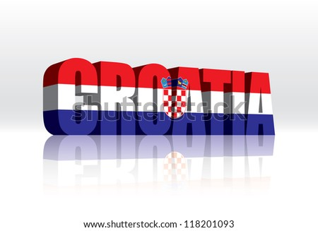 3D Vector Croatia Word Text Flag