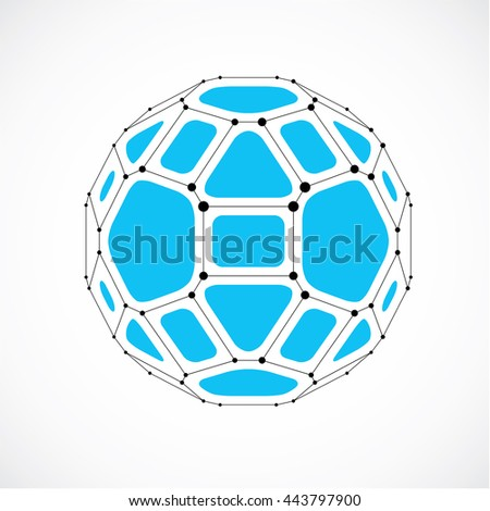 3d vector digital wireframe spherical object made using facets. Geometric polygonal blue ball created with lines mesh and pentagons. Low poly shape, lattice form for use in web design. - stock vector