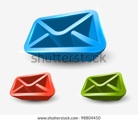 3d vector email icon set web design element. - stock vector