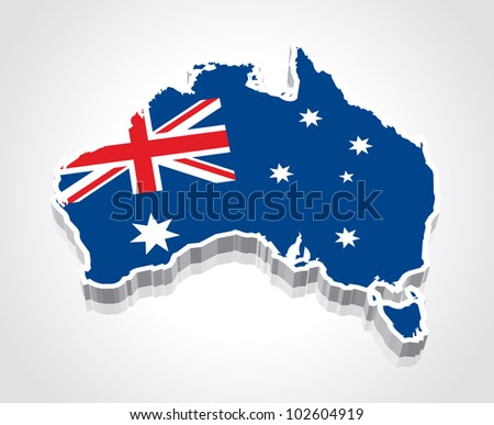 3D vector flag map of Australia