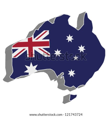 3D vector flag map of Australia. - stock vector