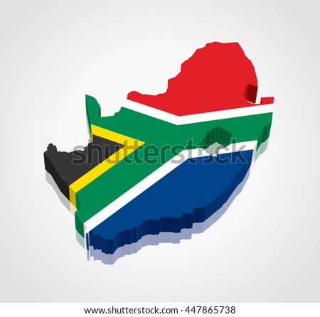 3D vector Flag Map of South Africa