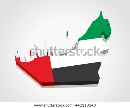 3D vector Flag Map of the United Arab Emirates (UAE) - stock vector
