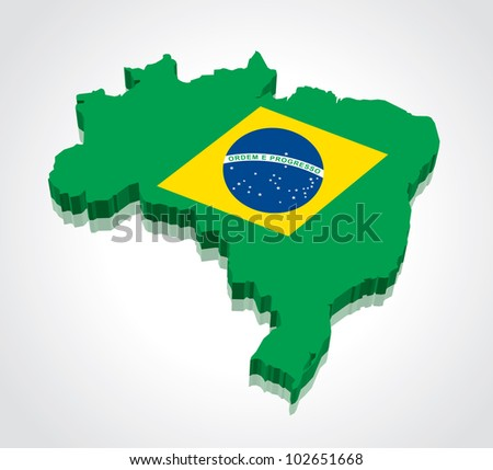 3D vector flag maps of Brazil - stock vector
