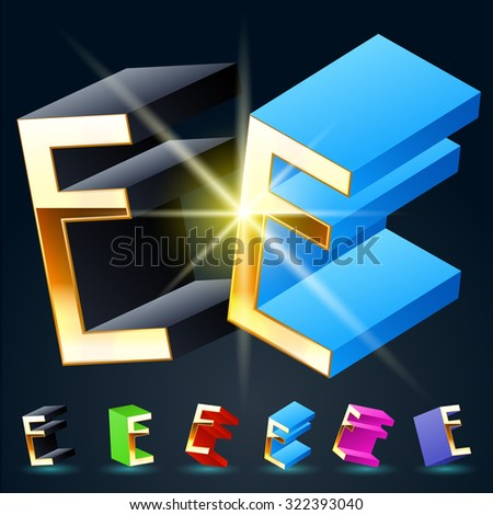 3D vector futuristic luxury alphabet with gold. All symbols in set have 8 random points of view and 6 different colors. Letter E - stock vector